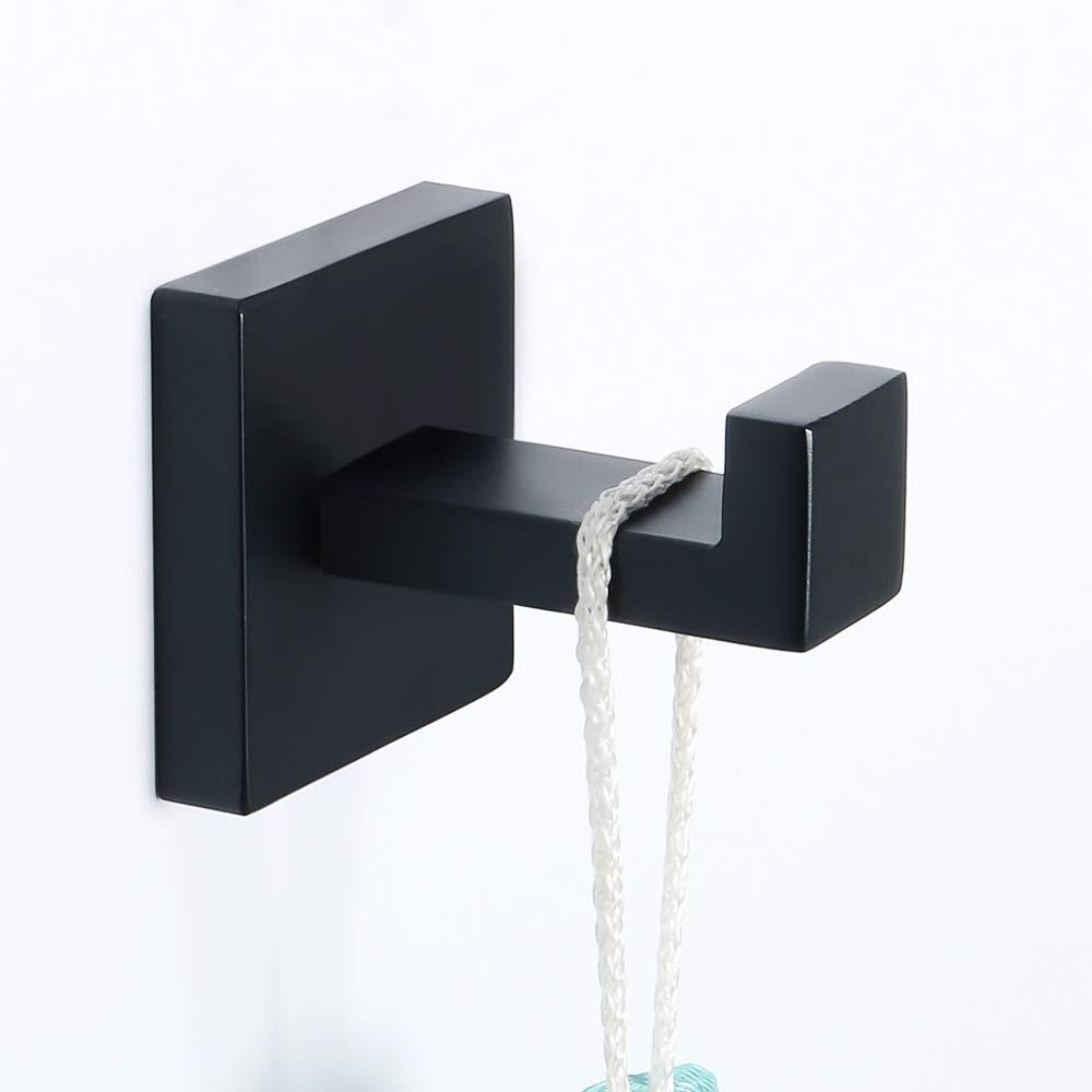 Sayayo gancio singolo gancio per asciugamani da muro, SUS304 acciaio INOX opaco nero, EGS7025-B