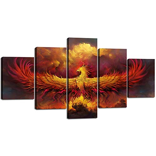 Yatsen Bridge Fire Phoenix Canvas Painting 5 Panels Burning Phoenix Wall Art Vintage Pictures Print Poster Artwork Home Decor for Living Room Bedroom Office Giclee Framed Stretched (60