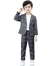 lontakids Boys 2-Piece Plaid Suit Casual Blazer Sport Coat Pants Clothing Set