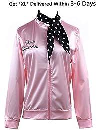 Womens Clothing, 1950s Pink Ladies Satin Jacket with Neck Scarf T Bird Women Girls Halloween