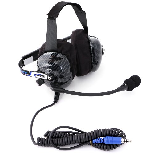 Rugged Radios H42-ULT Carbon Fiber Behind The Head Ultimate Headset with Gel Ear Seals, Cloth Ear Covers and Dynamic Noise Cancelling Microphone