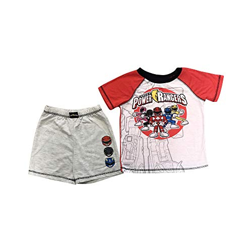 Red Power Ranger Pajamas (Saban's Soft Knit Short Sleeve top with Gray Shorts with Red, Blue and)