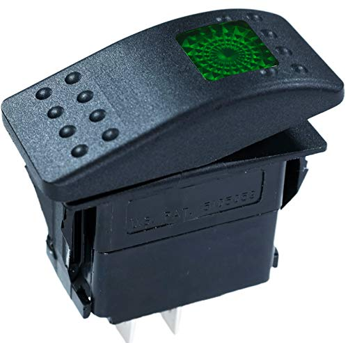 Carling Technologies Sealed Lighted Rocker ON-Off Switch SPST 3 Connections w/Rocker Actuator Green Lens ()