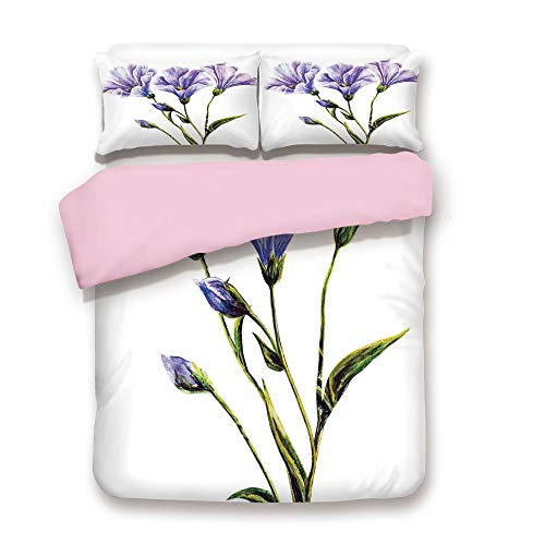 Pink Duvet Cover Set,Queen Size,Wild Flowers Drawing of Romantic Summer Theme Mother Earth Art Decorative,Decorative 3 Piece Bedding Set with 2 Pillow Sham,Best Gift For Girls Women,White Violet Green
