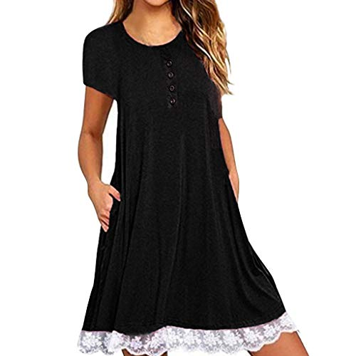 LUCA Women's O Neck Casual Lace Short Sleeve Print/Solid Mini Dress Loose Party Dress (Black 2,XXL)