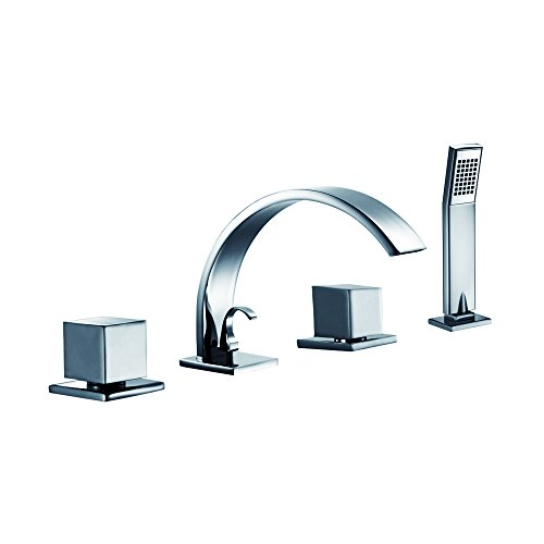 (Dawn D78 2262C 4-Hole Tub Filler with Personal Handshower, Square Handles and Sheet flow Spout)