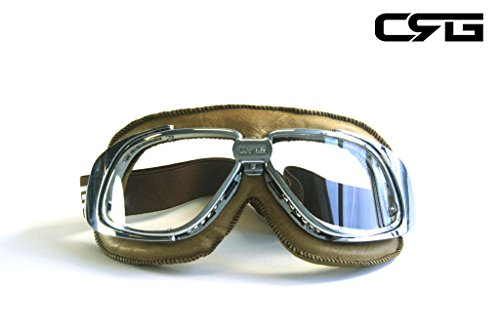 CRG Sports Vintage Aviator Pilot Style Motorcycle Cruiser Scooter Goggle T10 T10SCN-L Transparent lens, Silver frame, Light brown padding