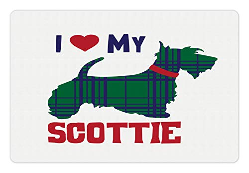 Ambesonne Scottie Dog Pet Mat for Food and Water, I Heart My Scottie Message Tartan Pattern Built in Dog Silhouette, Rectangle Non-Slip Rubber Mat for Dogs and Cats, Dark Blue Green and Ruby ()
