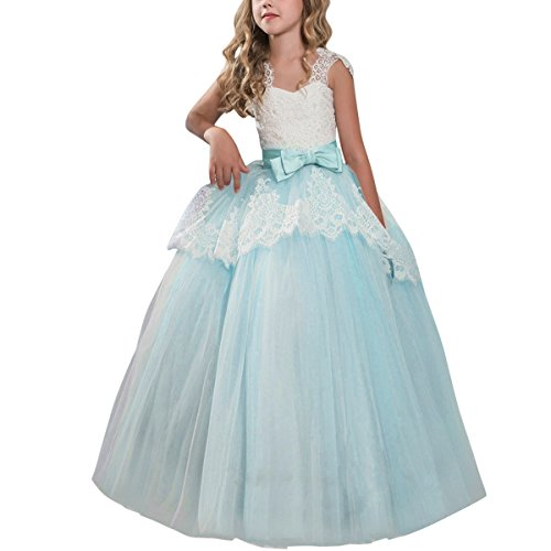 OBEEII Flower Girl Eyelash Lace Tutu Dress Floor Length Princess Junior Bridesmaid Pageant Wedding Communion Evening Gowns 11-12 Years Green -