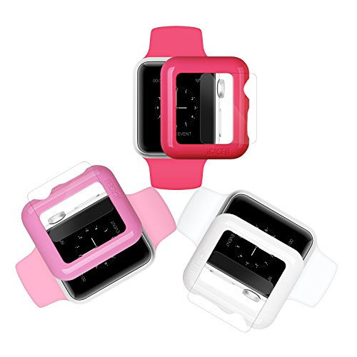 Apple Watch Case Screen Protector: 42mm (Pack of 3) - iCASEIT Bumper with Glass for full face protection (Include 3 Screen Protectors) iWatch Cases 42 mm - Hot Pink Baby Pink & (Hot Pink Protector Case)