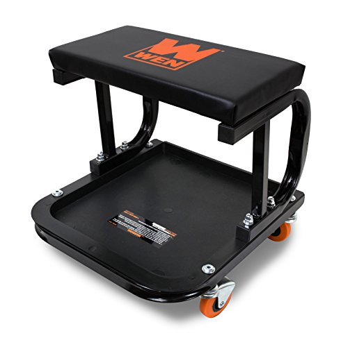 WEN 73011 Rolling Mechanic Seat with Onboard Storage (250-Pound Capacity)
