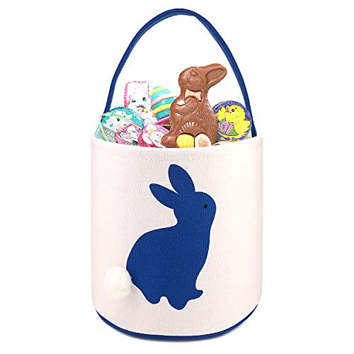 Easter Bunny Ears Basket Canvas Bags Buckets Tote Stuffers Egg Hunt for Girls and Boys - Cylinder Dark Blue ()