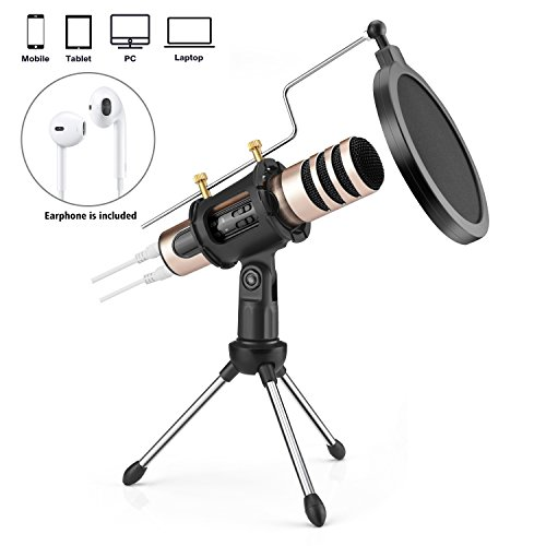 Professional Condenser Mini Microphone for iPhone Android iPad Recording Echo Karaoke Singing MIC Computer PC Home Studio Microphones with MIC Stand Dual-layer Acoustic Filter (gold)