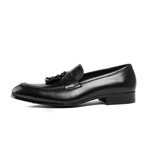 Loisirs GRRONG Affaires Cuir Chaussures Black De Cuir En En Homme Véritable Pour Pointu 6PBZx6