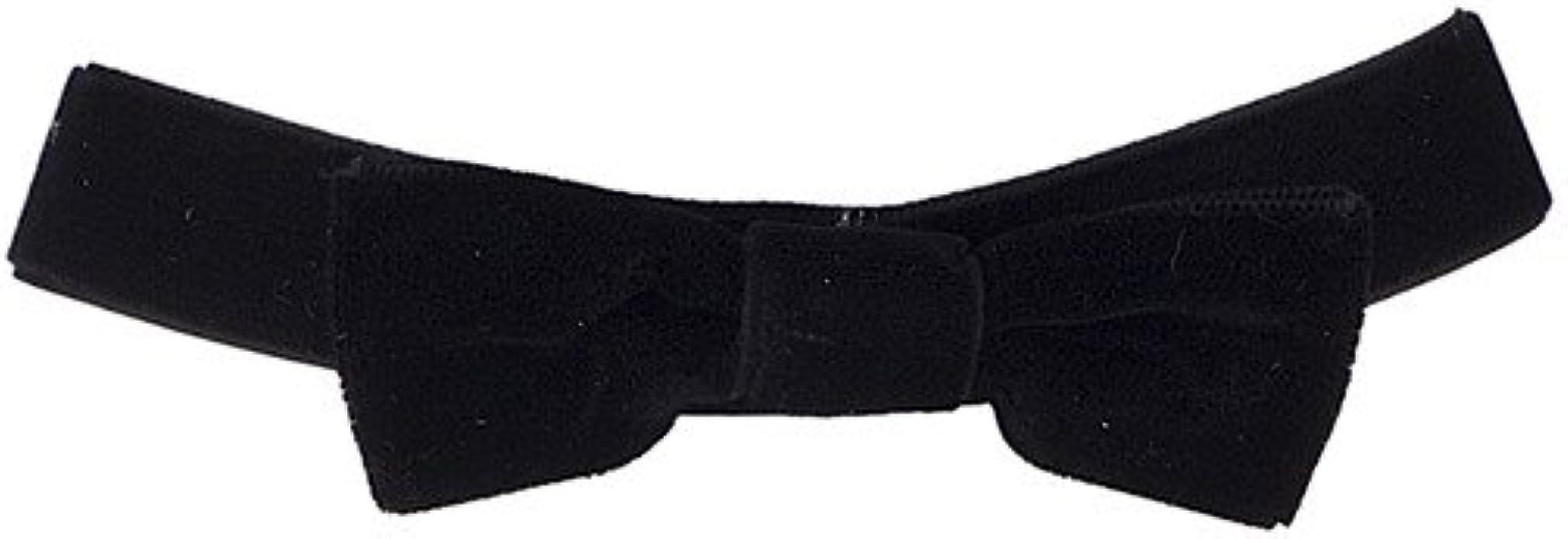 Black Fuzzy Wool Bowtie Velvet Choker Necklace Accessory SPP00026