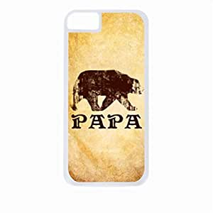Papa Bear-Grunge- Case for the Apple Iphone 5-5s Universal-Hard White Plastic Outer Shell with Inner Soft Black Rubber Lining BY RANDLE FRICK by heywan