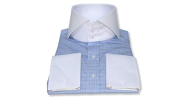 WhitePilotShirts - Camisa italiana de cuello alto para hombre ...