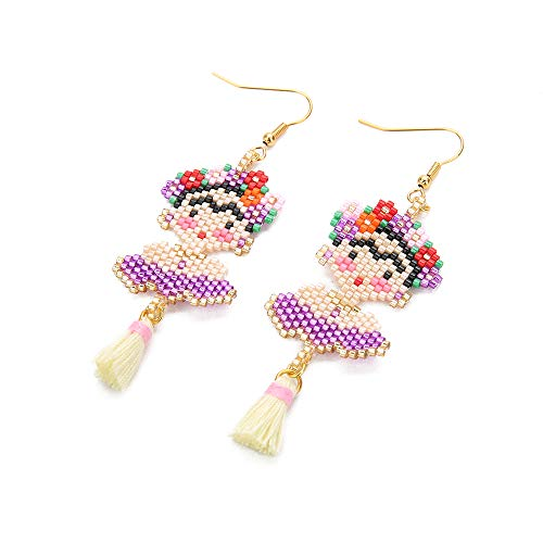 BALIBALI Handmade Seed Beads Woven Famous Lady Mexico Portrait Woman Frida Dangle Drop Earrings for Women Gold Plated Boho Statement Earrings for Girls