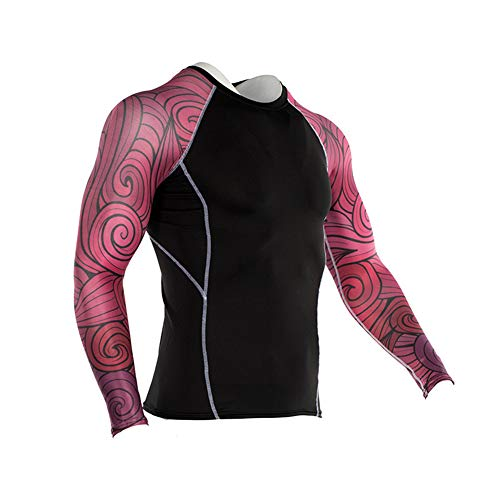 Men's Sports Compression Apparel Base Layers Workout Long Sleeve Shirt Leaf Tattoo Running Motion Training Sport Fitness