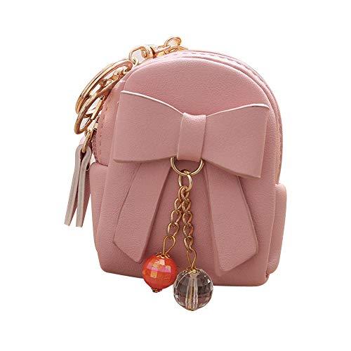 (LiLiMeng Women Bow Zipper Key Bag Short Wallet Coin Purse Card Holders Handbag PK)