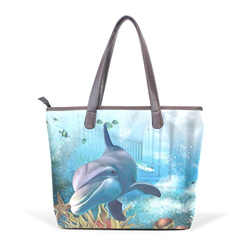 Coosun Sea Underwater Dolphin Large Leather Bags Handle Pu Shoulder Bag Tote Bag M (40x29x9) Cm Multicolor # 001