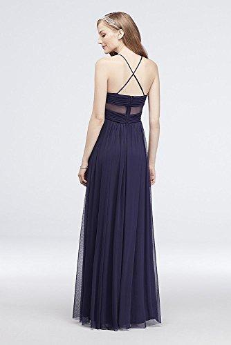 Illusion Robe De Bal En Maille Plissée Douce Mariée De David Dos De Style 130240 Marine