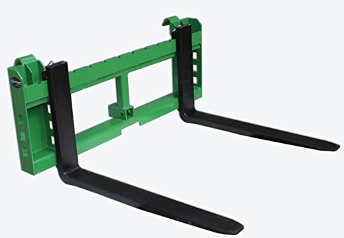 36'' Pallet Fork Attachment with 2'' Trailer Receiver Hitch for John Deere Loader by Titan Attachments