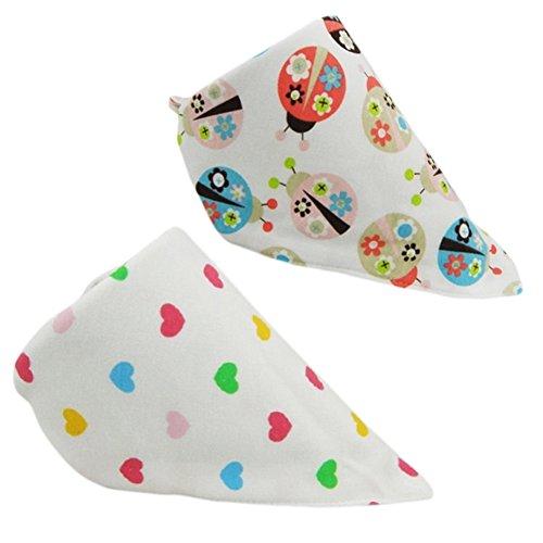 Set Of 2 Baby Cute Bandana Drool Bibs Unisex Cotton ( Beatles & Peach Hearts ) (Bib Beatles)