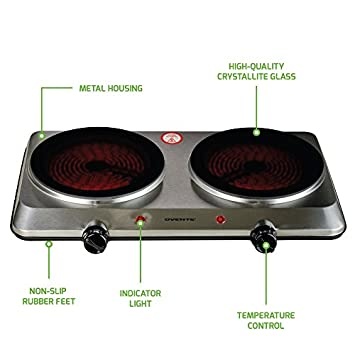 Ovente Countertop Infrared Burner 1000 Watts 7.5 Ceramic Glass Single Plate Cooktop with Temperature Control, Non-Slip Feet Indoor Outdoor Portable Electric Stove Stainless Steel Two Plate