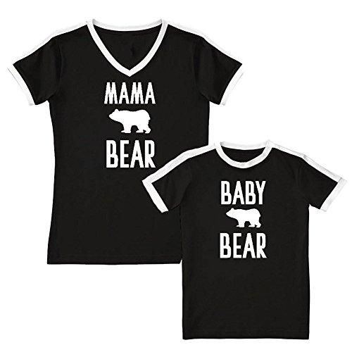 We Match!! - Mama Bear/Baby Bear (Cute Bear) - Matching Women's Soccer Ringer T-Shirt & Kids T-Shirt Set (YTH Small, Women's Small, Black, White Print) Christian Womens Ringer T-shirt
