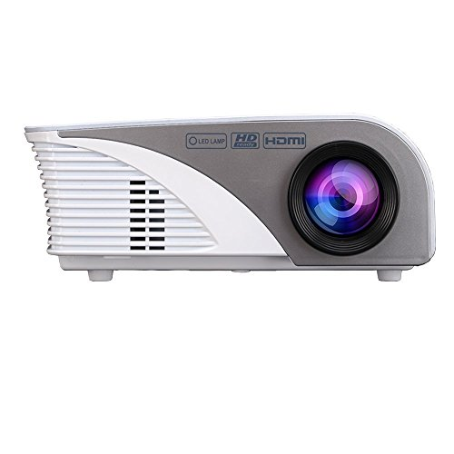 Projector,Xinda LCD 1200 Lumens Mini Multi-media Portable Video Projector Game Home Cinema Theater Movie Projector White 001BW