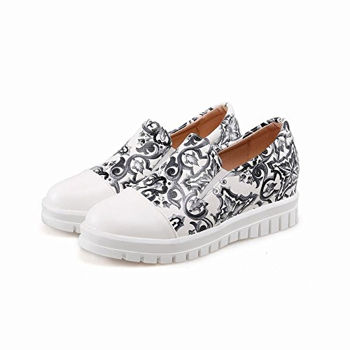 Show Shine Womens Fashion Prints Bungee Loafers Shoes Black ICAgrVVbm