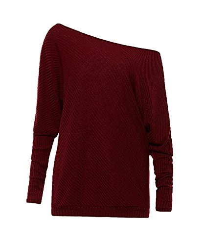 Toping Fine Women's Off Shoulder Batwing Sleeve Loose Pullover Sweater Knit Jumper A-wine RedMedium