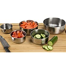 Chef Buddy 5-Piece Stainless Steel Bowl Set with Lids, Silver