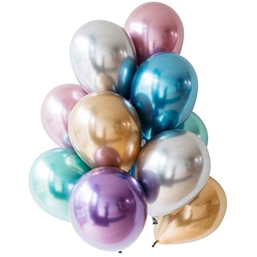 JYLFP 50pcs 12 Inch Metal Color Latex Thickening Pearl Balloon Celebration Wedding Birthday Party Decoration Balloons Festival ()