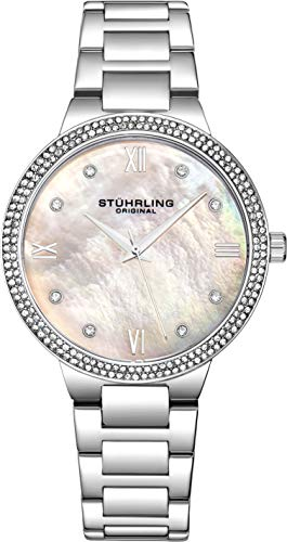 Stuhrling Original Womens Watch - Pave Crystal Bezel - Mother of Pearl Dial with Crystal Accents, 3907 Watches for Women Collection (Silver)