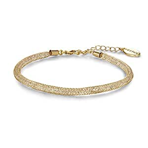 Mestige PMBR1005 Gold Plated Alessia Mesh Bracelet for Women