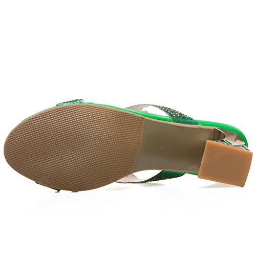 Donne Zanpa green Blocco Sandali Slides Moda a Tacco Mules 3 BdvwUdqx
