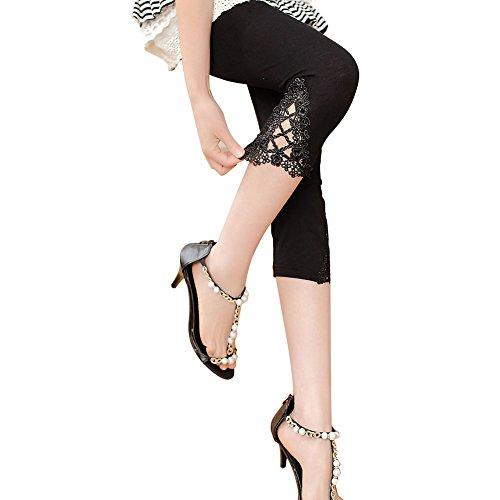 KJAHSLK Women Lace Leggings Fitness Soft Modal Stretch 3/4 Length Big Girls's Tights Pants (M-L, Black)