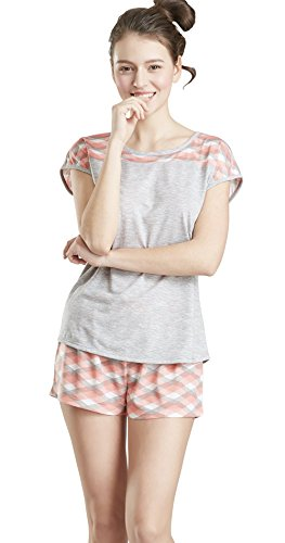 Ink+Ivy Summer Pajamas for Women - Short Sleeve Tee Shirt and Shorts Pajama Set for Women, Argyle Print Large ()