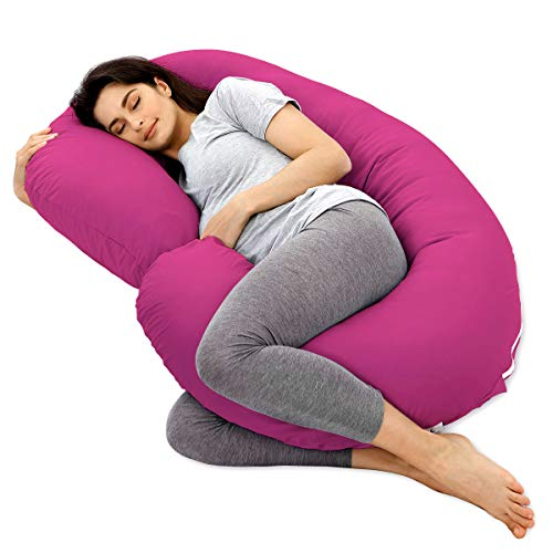 Marine Moon Pregnancy Pillow, Maternity Body Pillow with 100% Cotton Cover (Aubergine, 59″)