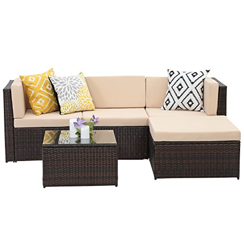 Wisteria Lane Outdoor Patio Furniture Set, 5 PCS Upgrade Garden Rattan Wicker Cushioned Sofa with Coffee Table,Brown (Piece Setting Time 5 Place)