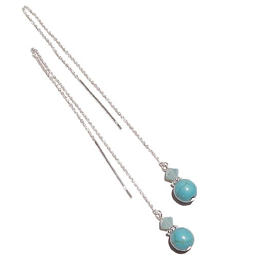 Blue Turquoise Gemstone Sterling Silver and Swarovski Long Drop Chain Ear Threads – 170mm