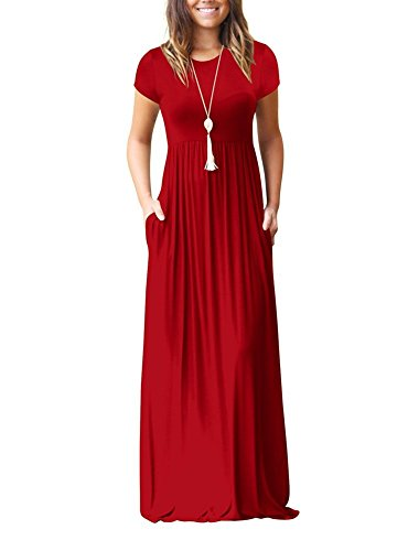 YIOIOIO Women Short Sleeve Loose Plain Maxi Dresses Casual Long Dresses with Pockets