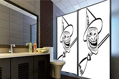 Horrisophie dodo No Glue Static Cling Glass Sticker,Humor Decor,Halloween Spirit Themed Witch Guy Meme LOL Joy Spooky Avatar Artful Image,Black White,39.37