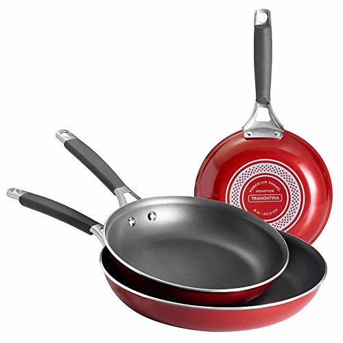 Enamel 8 Inch Saute Pan - Tramontina Gourmet Selection 3 Piece Set Nonstick Saute Pans. Includes 8