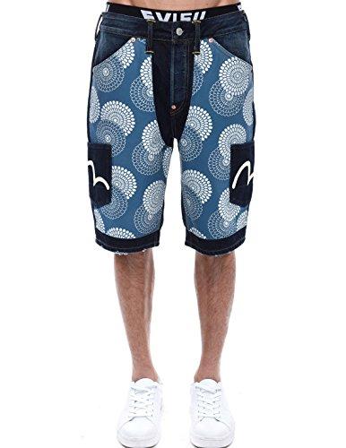 Indigo Sashiko Denim Shorts - Evisu Short Men