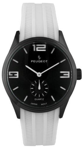 Peugeot Men's Matte Black Case White Rubber Sports Watch 2042WWT