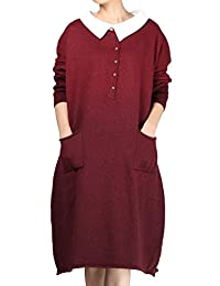 Mordenmiss Women's Long Gradient Knit Sweater Pullover Dresses