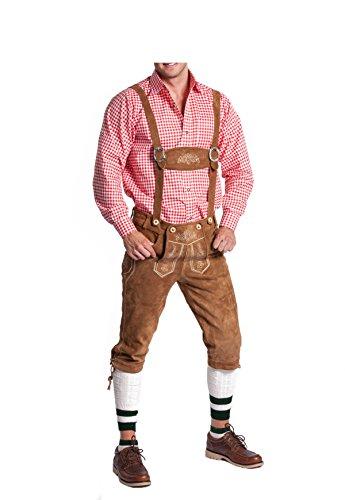 Herren Trachten Lederhose in schwarz, hellbraun, dunkelbraun oder camel braun - Original FROHSINN - Kniebund Lederhose mit abnehmbaren Hosenträgern - Herren Lederhosen fürs Oktoberfest